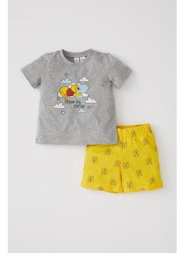 DeFacto Erkek Bebek Winnie The Pooh Lisanslı Kısa Kol Pijama Takımı Gri